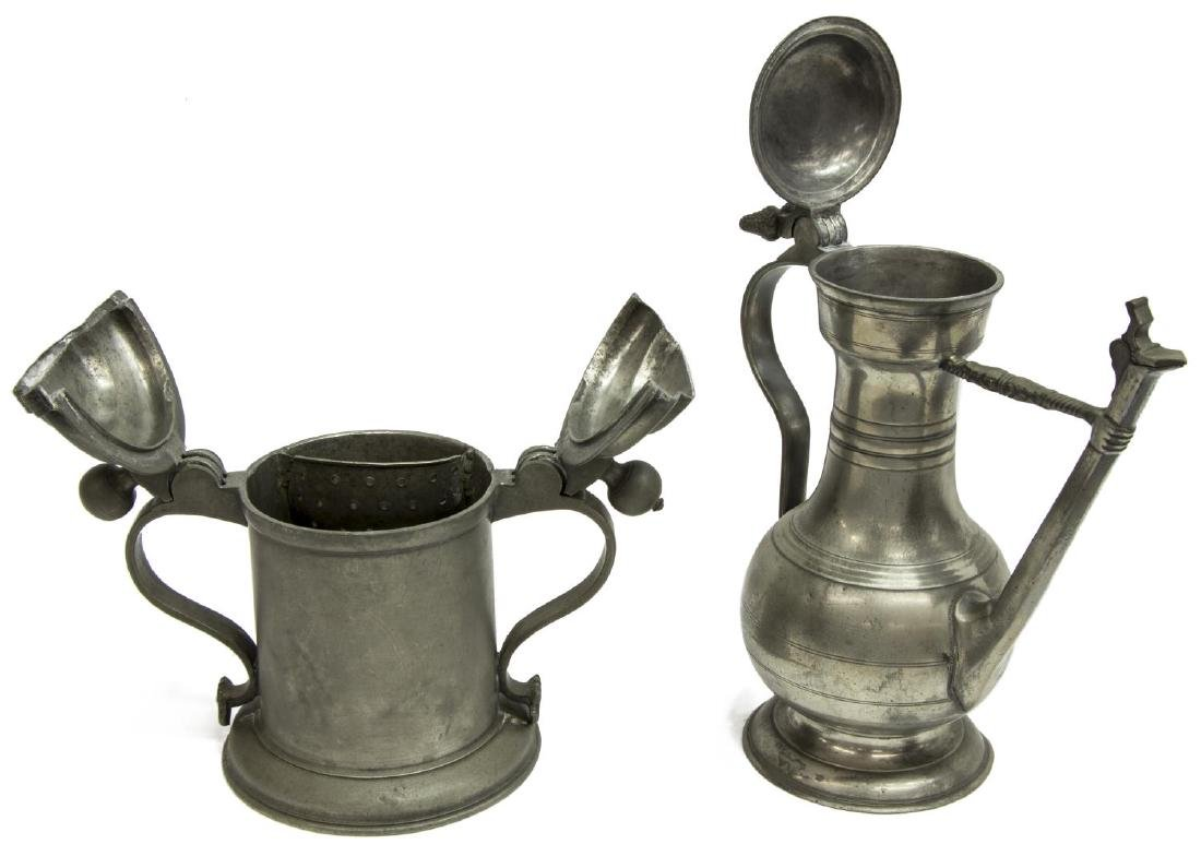 2) 18TH & 19TH C. PEWTER DRINKWARE, (1) DATED 1743 - 3
