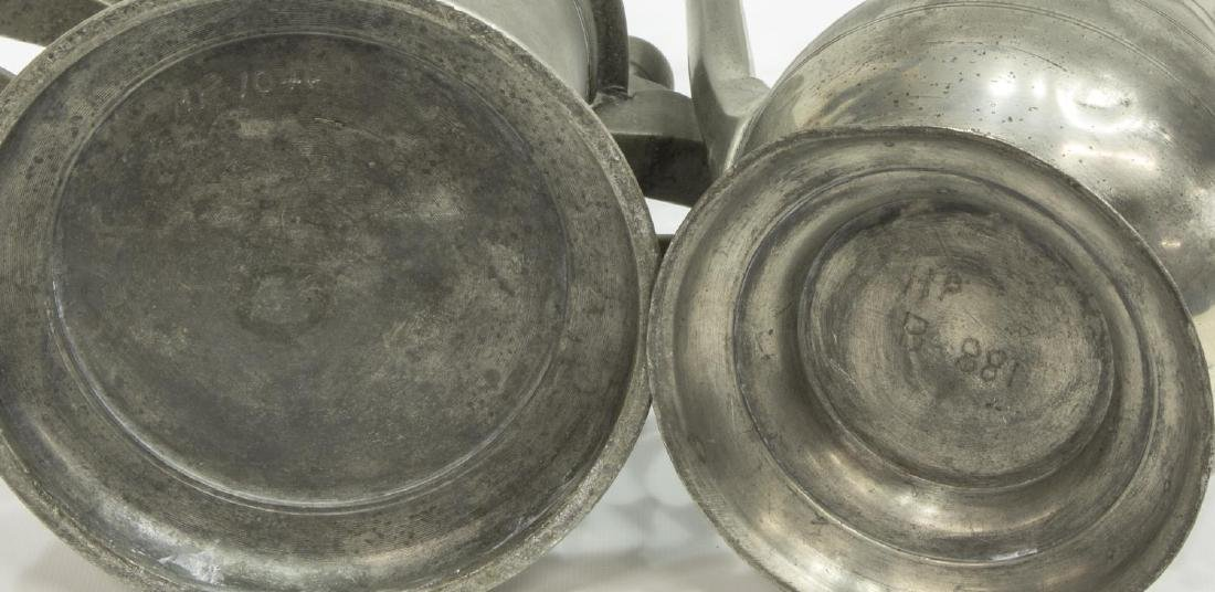 2) 18TH & 19TH C. PEWTER DRINKWARE, (1) DATED 1743 - 4