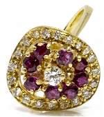 LADIES 14KT YELLOW GOLD RUBY & DIAMOND ESTATE RING