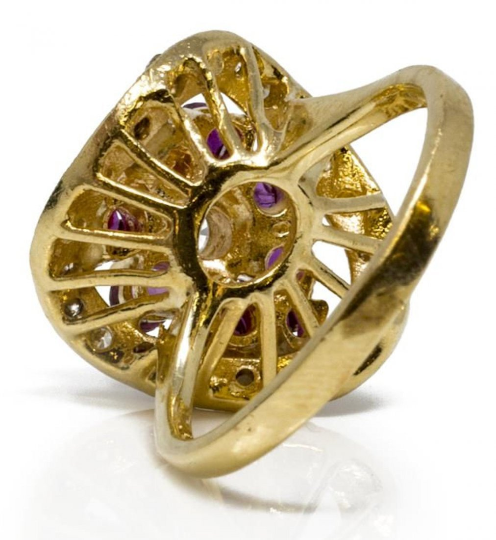 LADIES 14KT YELLOW GOLD RUBY & DIAMOND ESTATE RING - 2