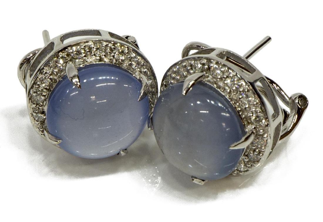 (2) LADIES 14KT WG MOONSTONE & DIAMOND EARRINGS