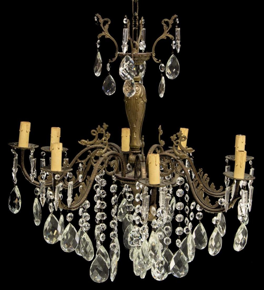 ITALIAN BRONZE FINISH CRYSTAL 8 LIGHT CHANDELIER