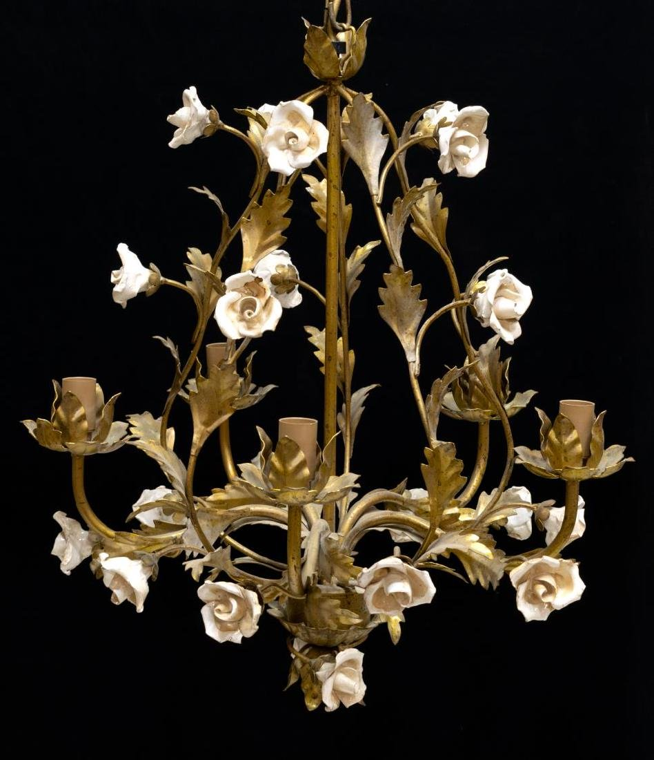 ITALIAN GILT METAL 5-LIGHT FLORAL VINE CHANDELIER