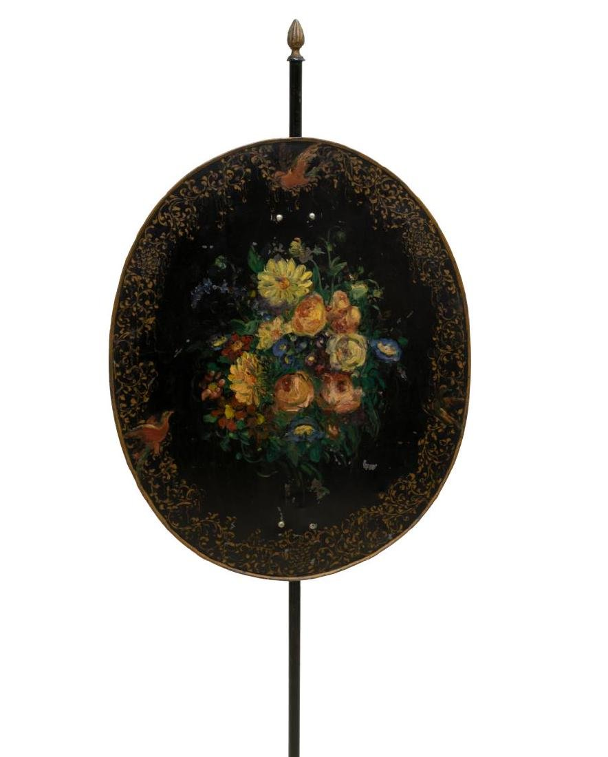 VICTORIAN FLORAL PAINTED POLE SCREEN