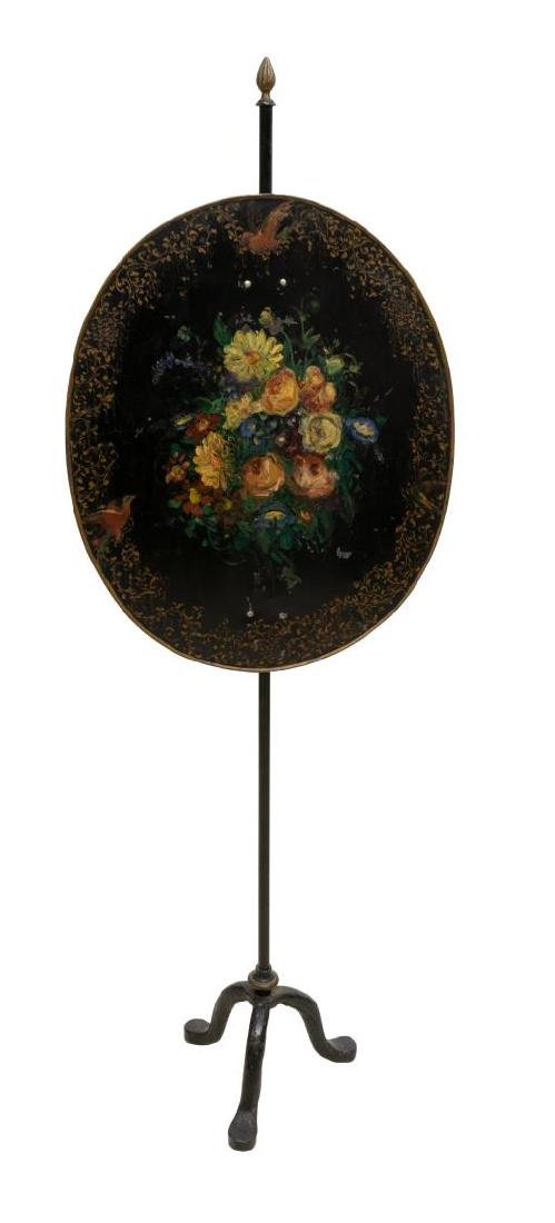 VICTORIAN FLORAL PAINTED POLE SCREEN - 2
