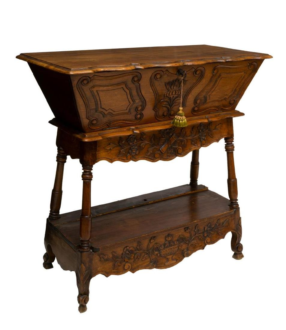FRENCH PROVINCIAL FLORAL CARVED DOUGH BIN ON STAND