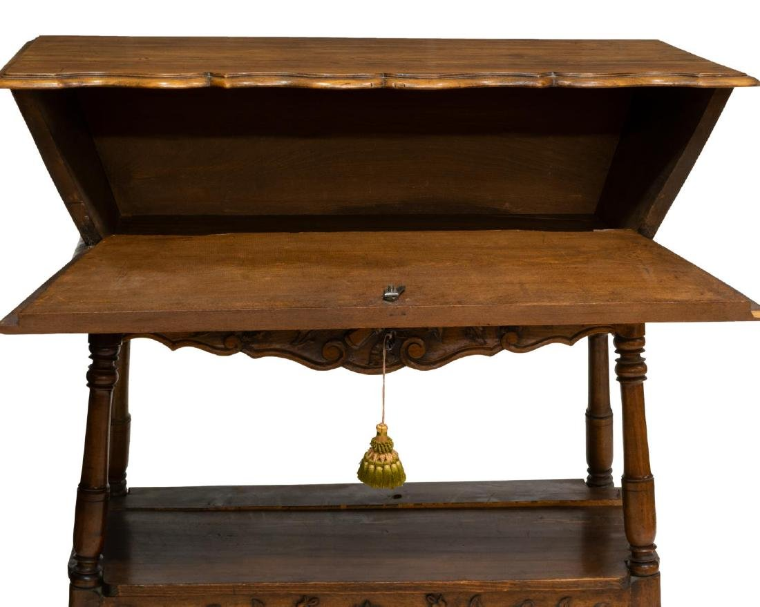 FRENCH PROVINCIAL FLORAL CARVED DOUGH BIN ON STAND - 3