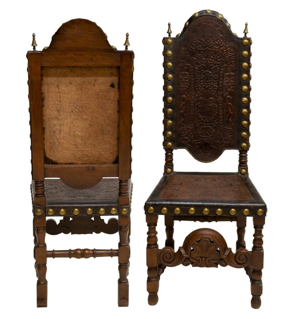 (4) FRENCH HIGHBACK EMBOSSED LEATHER SIDE CHAIRS