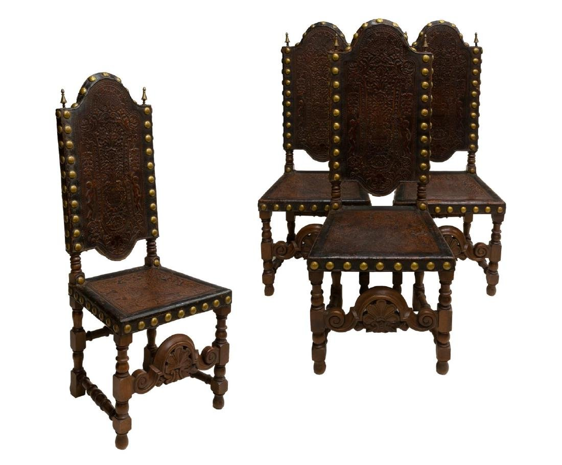 (4) FRENCH HIGHBACK EMBOSSED LEATHER SIDE CHAIRS - 2
