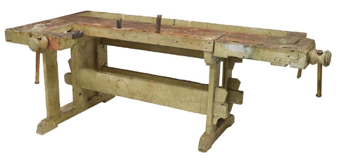 INDUSTRIAL PINE CRAFTSMAN'S WORK BENCH TABLE