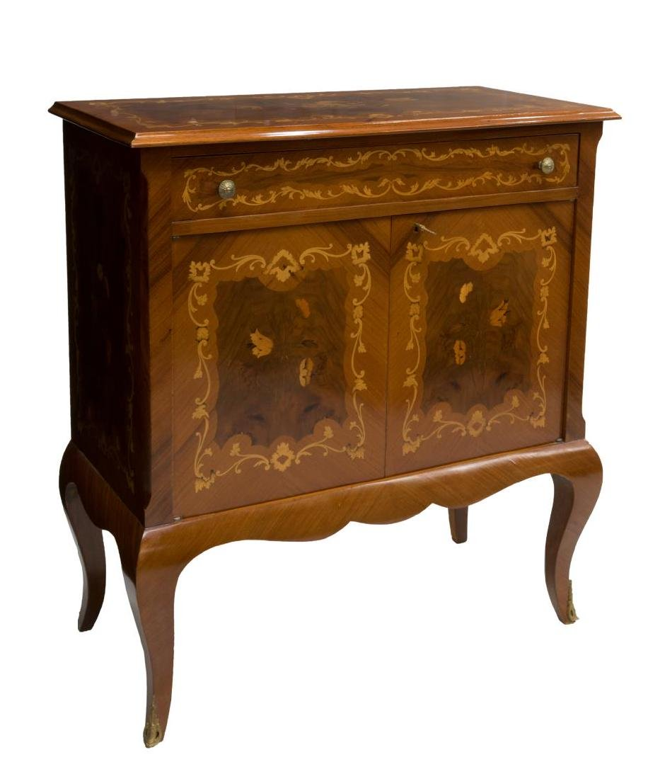 VINTAGE LOUIS XV STYLE MAHOGANY MARQUETRY CABINET