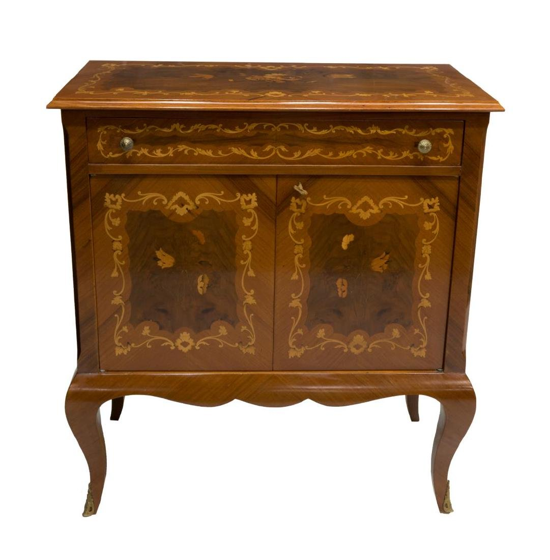 VINTAGE LOUIS XV STYLE MAHOGANY MARQUETRY CABINET - 2