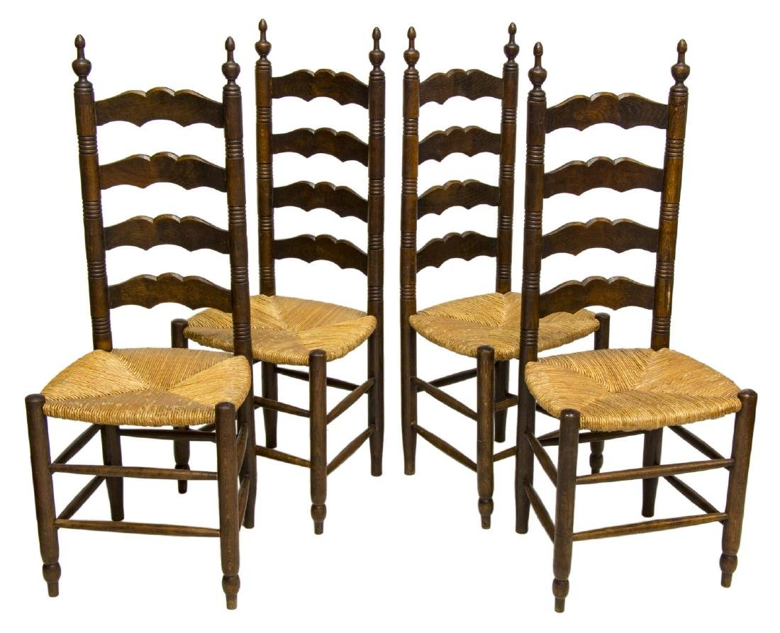 (4) FRENCH PROVINCIAL OAK LADDER BACK SIDE CHAIRS