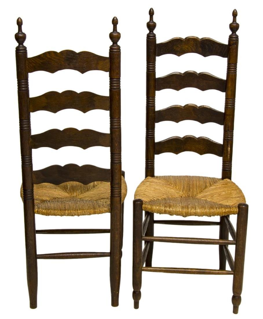 (4) FRENCH PROVINCIAL OAK LADDER BACK SIDE CHAIRS - 2