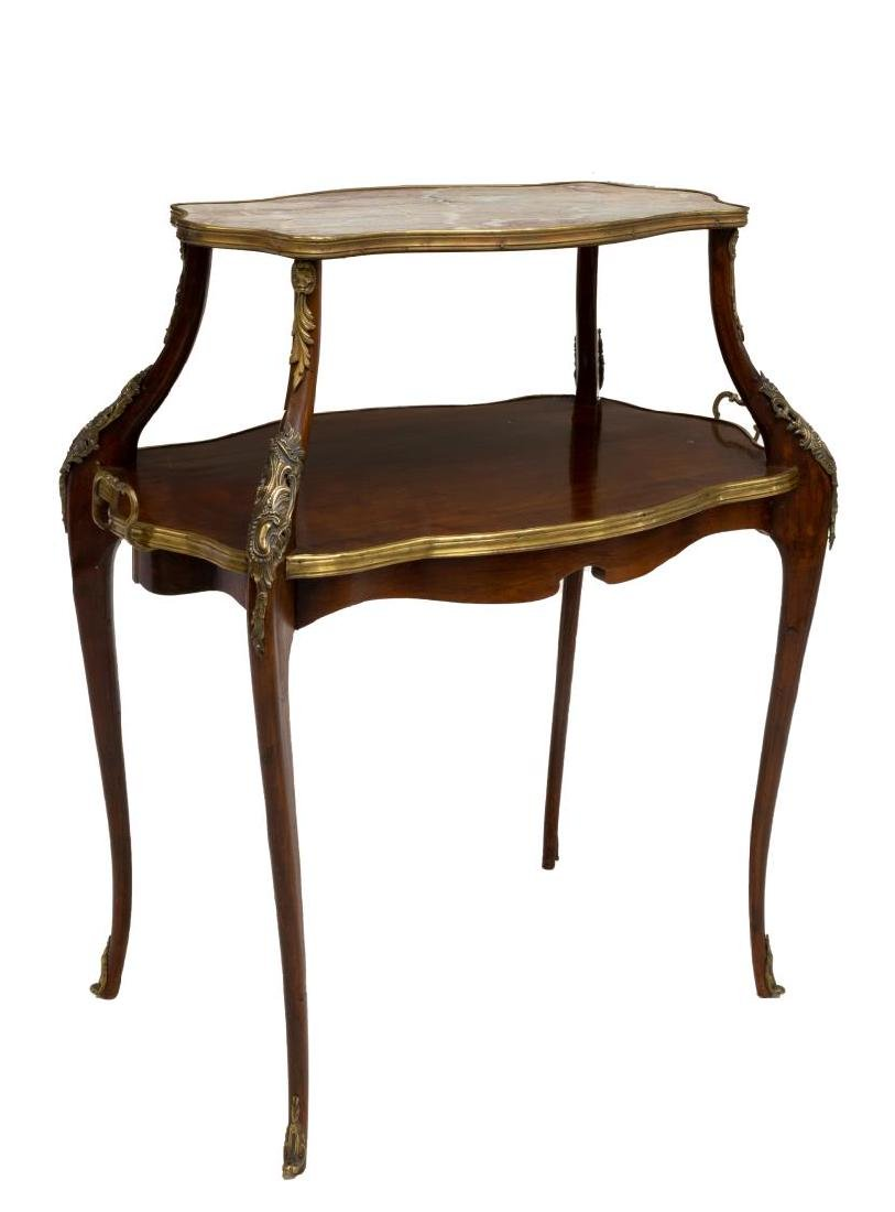 FRENCH GILT METAL MOUNTED MARBLE TIERED SIDE TABLE