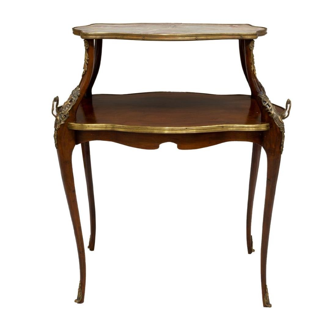FRENCH GILT METAL MOUNTED MARBLE TIERED SIDE TABLE - 2