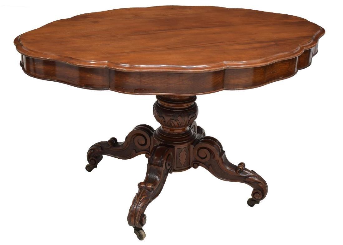 ITALIAN MAHOGANY FINISH CARVED PARLOR TABLE
