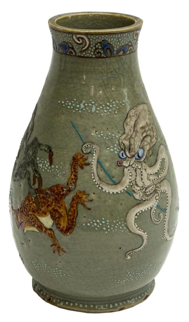 JAPANESE CERAMIC CELADON OCTOPUS & CRAB VASE