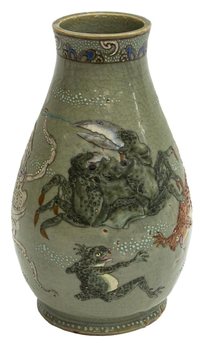 JAPANESE CERAMIC CELADON OCTOPUS & CRAB VASE - 2