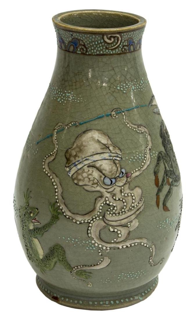 JAPANESE CERAMIC CELADON OCTOPUS & CRAB VASE - 3