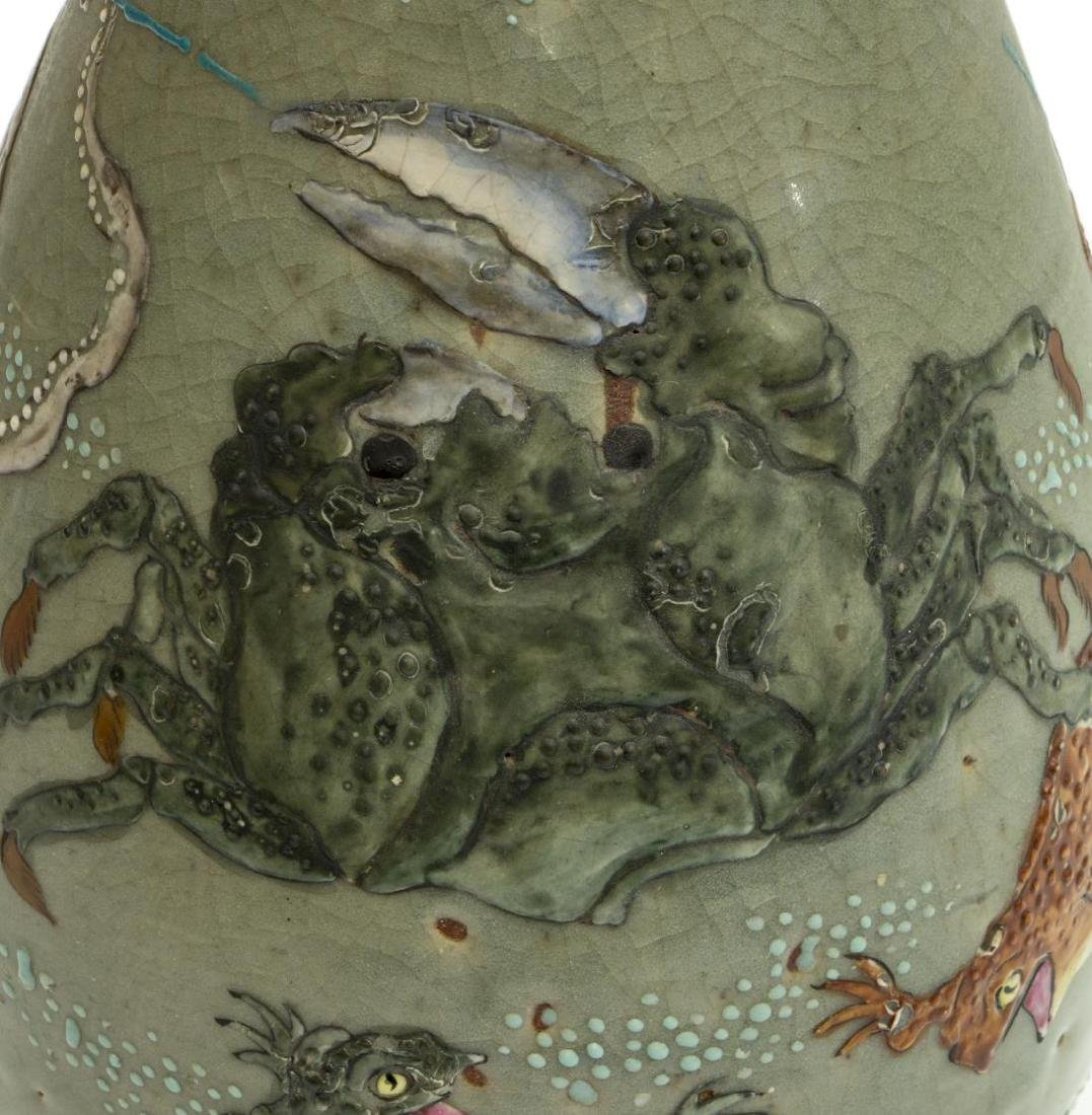 JAPANESE CERAMIC CELADON OCTOPUS & CRAB VASE - 6