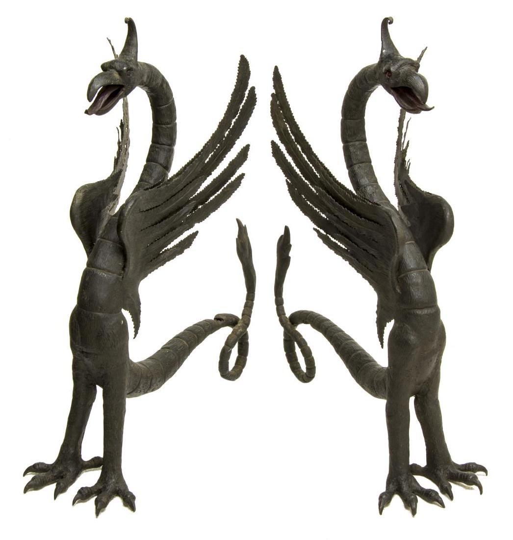 (2) LARGE CONTINENTAL BLACK IRON GRIFFIN ANDIRONS