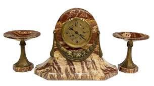 FRENCH ART NOUVEAU GARNITURE CLOCK SET