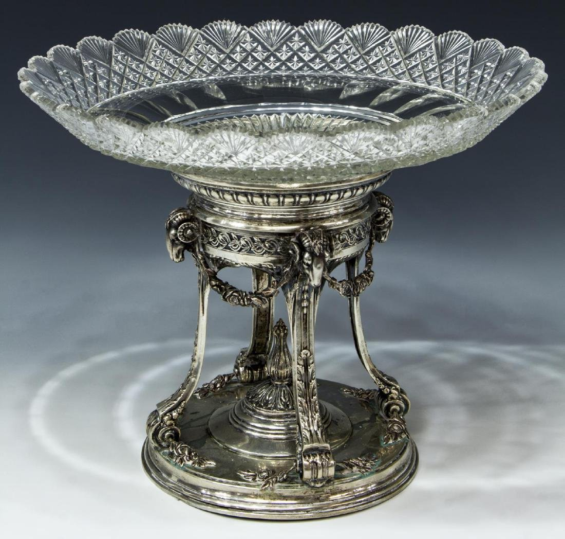 NEOCLASSICAL STYLE SILVER & CUT GLASS CENTERPIECE