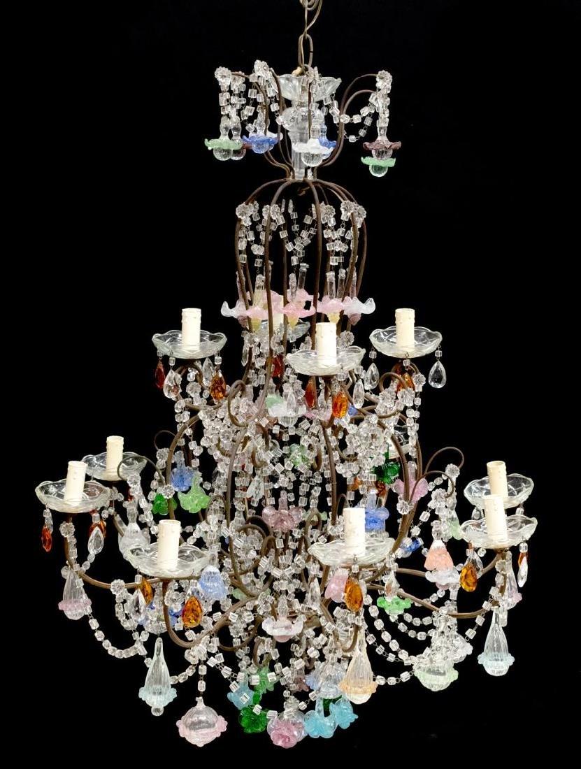 ITALIAN ART GLASS FLOWER SWAG 12-LIGHT CHANDELIER