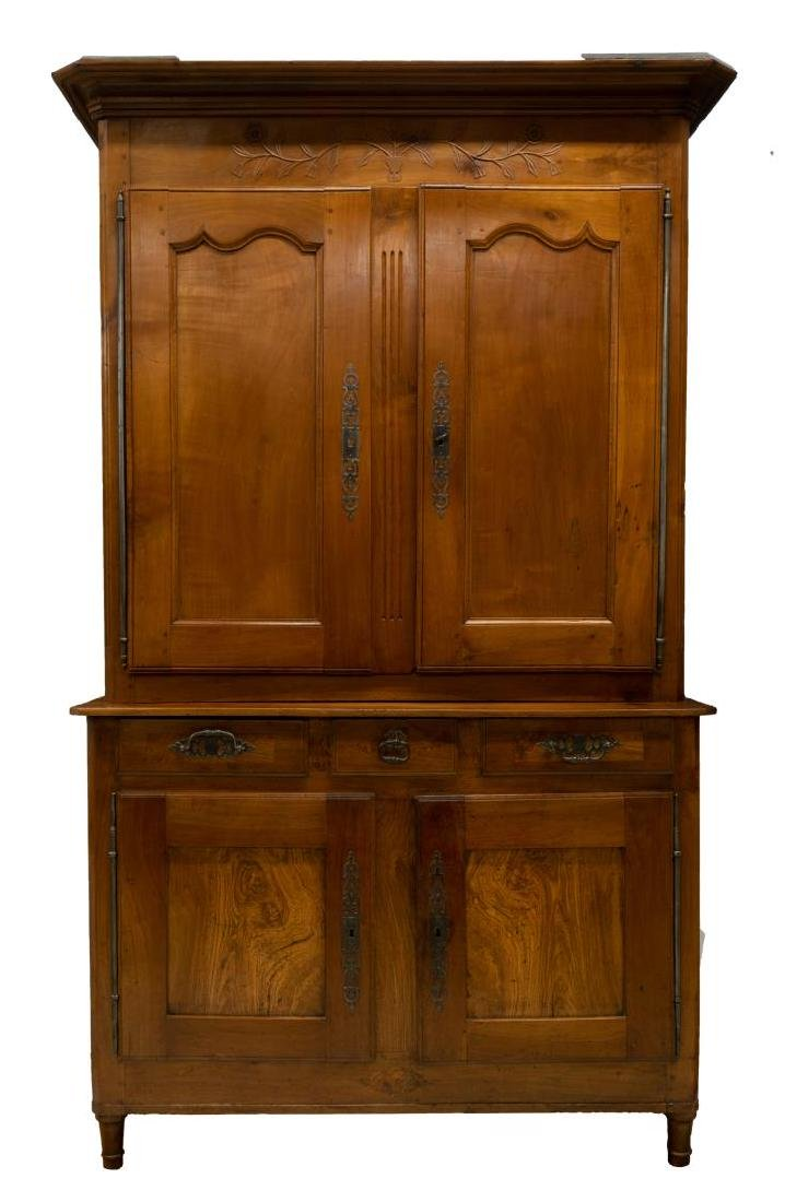 FRENCH 19TH C. CHERRYWOOD DEUX CORPS CUPBOARD