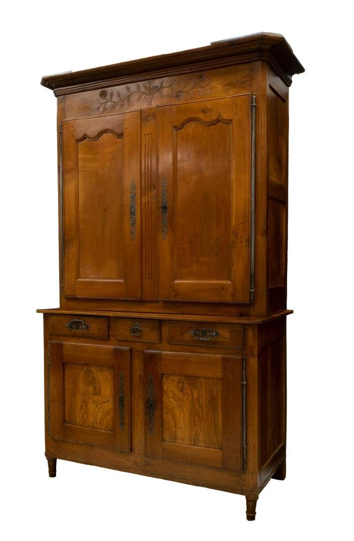 FRENCH 19TH C. CHERRYWOOD DEUX CORPS CUPBOARD - 2