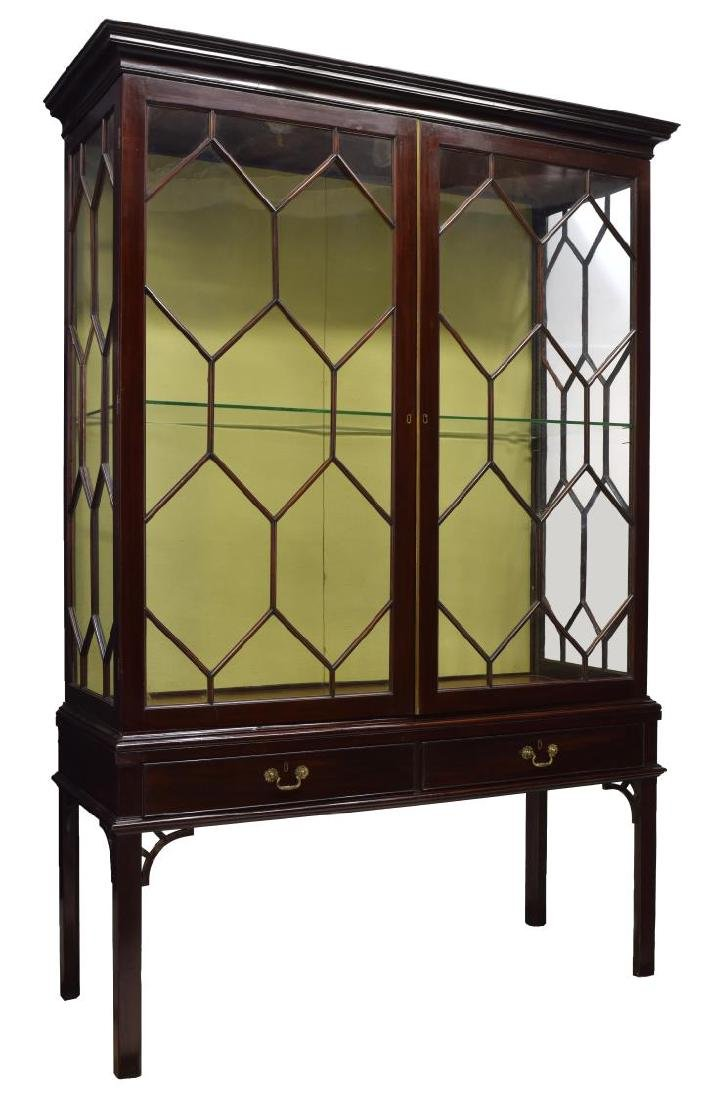 CHINESE CHIPPENDALE STYLE GLAZED CABINET ON STAND