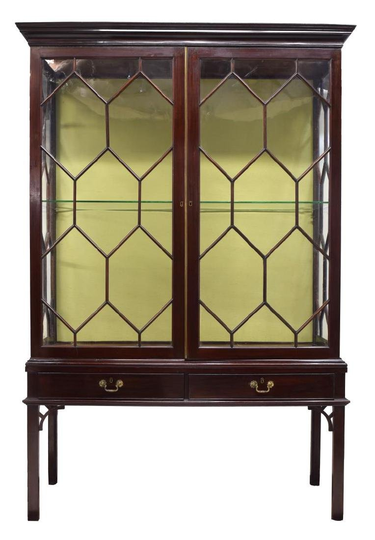 CHINESE CHIPPENDALE STYLE GLAZED CABINET ON STAND - 2