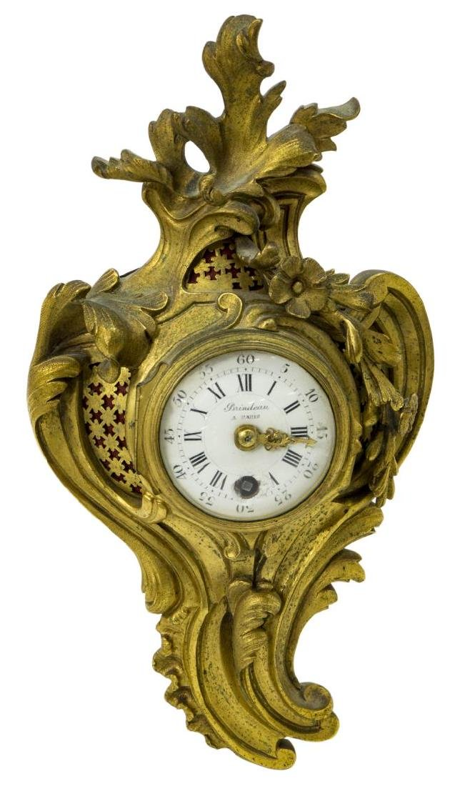FRENCH LOUIS XV STYLE BRINDEAU BRONZE DORE CLOCK