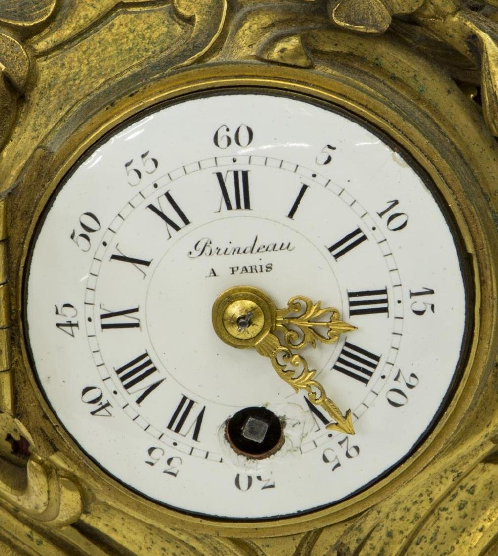 FRENCH LOUIS XV STYLE BRINDEAU BRONZE DORE CLOCK - 2