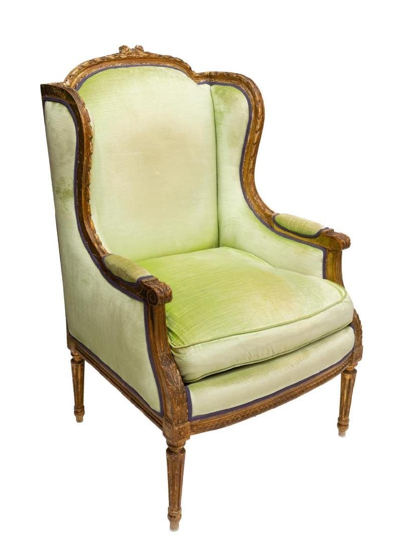 FRENCH LOUIS XVI STYLE PARCEL GILT WINGBACK CHAIR