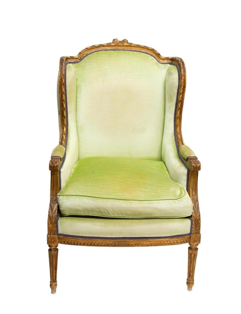 FRENCH LOUIS XVI STYLE PARCEL GILT WINGBACK CHAIR - 2