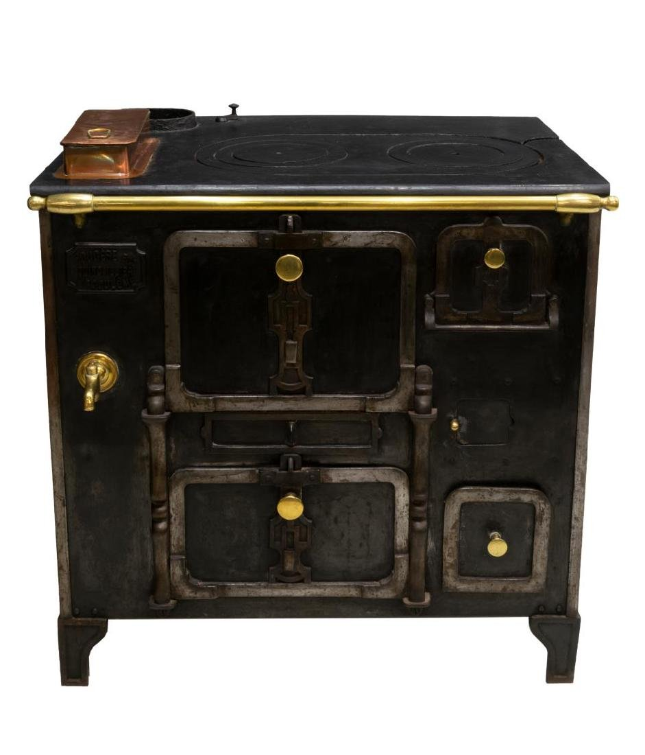 FRENCH CAST IRON & BRASS STOVE