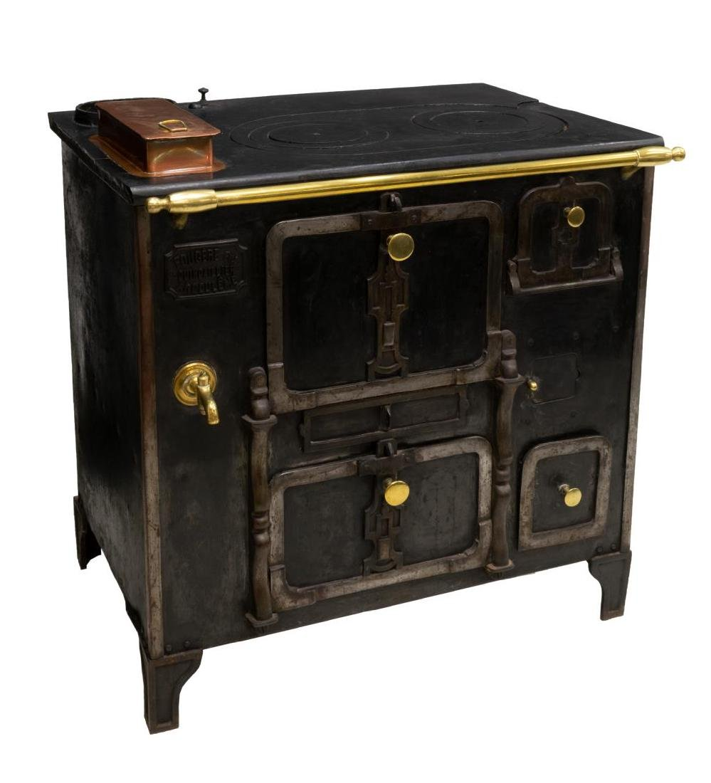 FRENCH CAST IRON & BRASS STOVE - 2