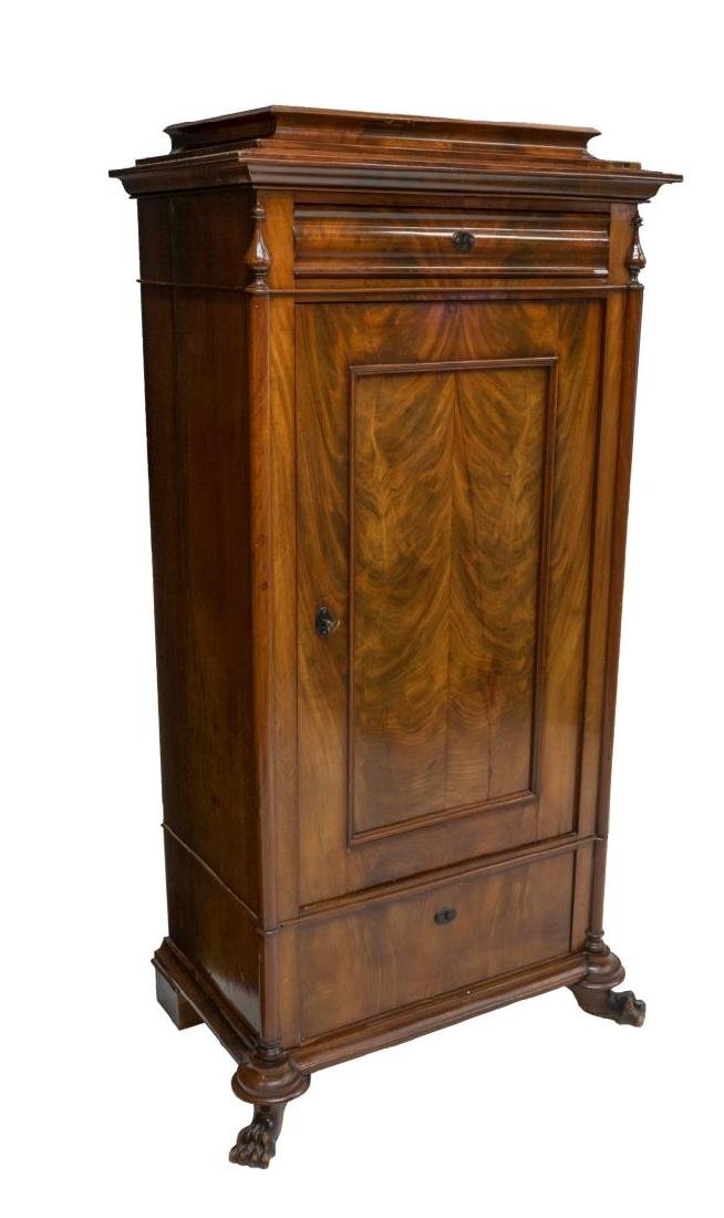 ANTIQUE DANISH FLAME MAHOGANY FITTED CUPBOARD