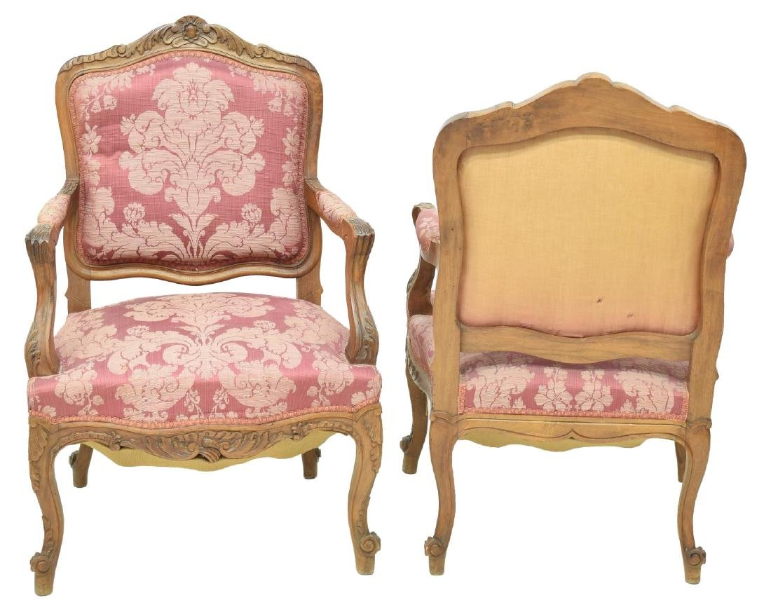 (4) LOUIS XV STYLE FLORAL CARVED WALNUT ARM CHAIRS - 2