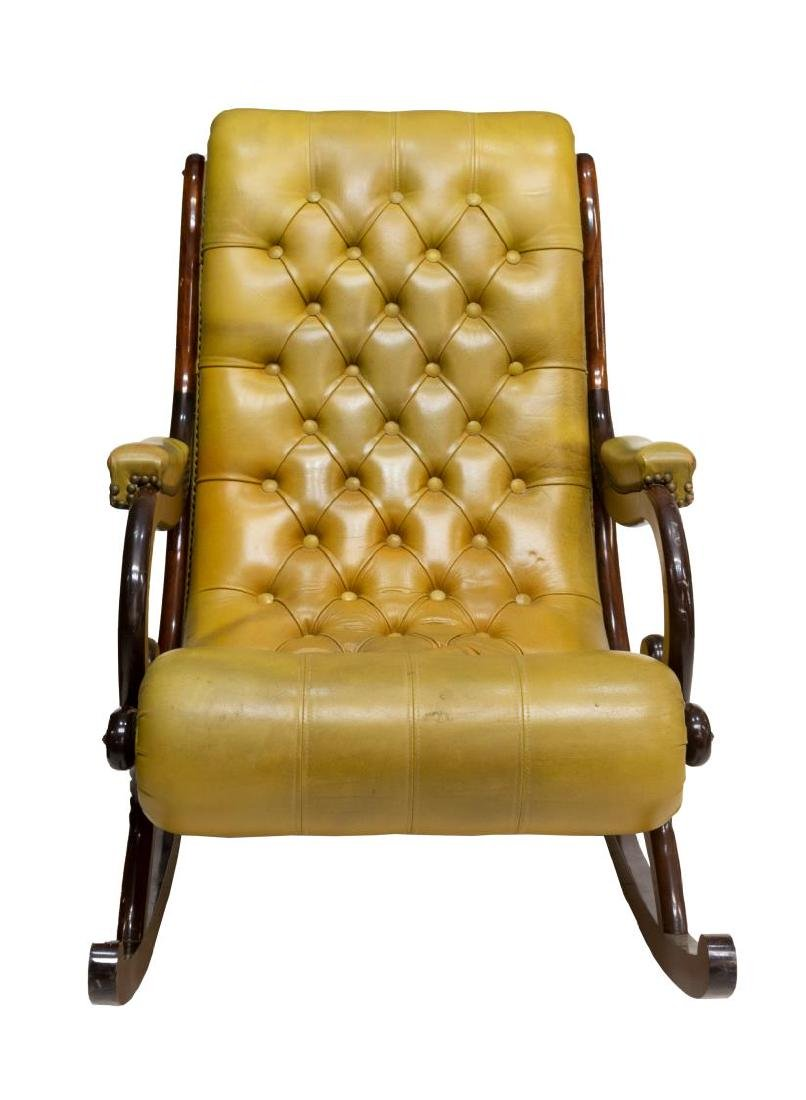 ENGLISH CHESTERFIELD TUFTED LEATHER ROCKING CHAIR - 2