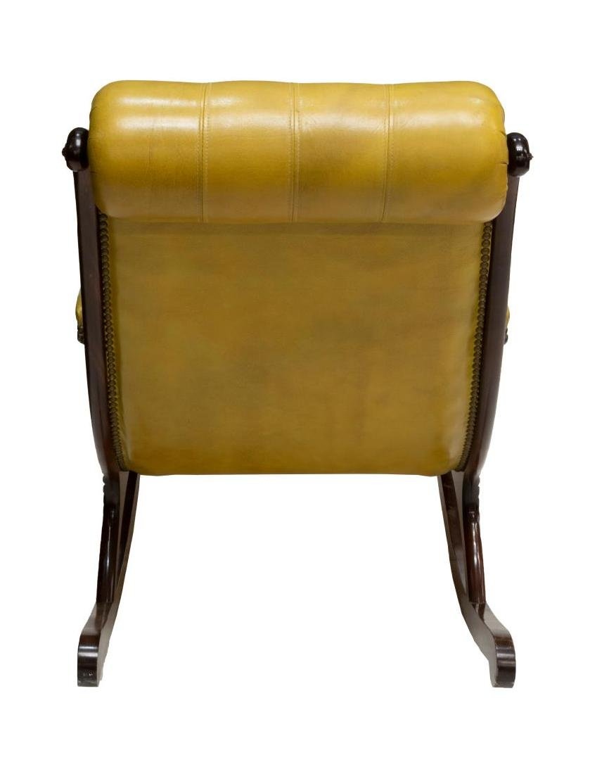 ENGLISH CHESTERFIELD TUFTED LEATHER ROCKING CHAIR - 3