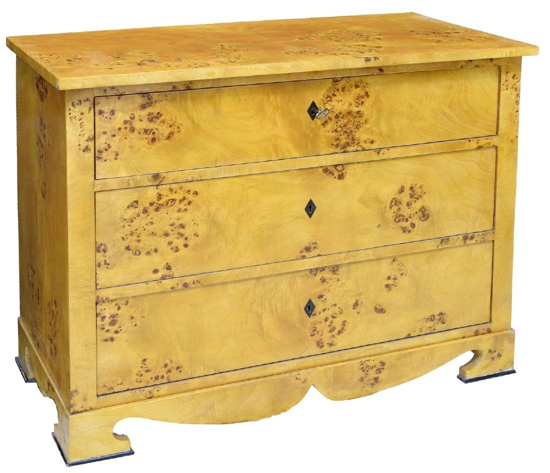 DANISH BIEDERMEIER BURLED BIRCH CHEST OF DRAWERS