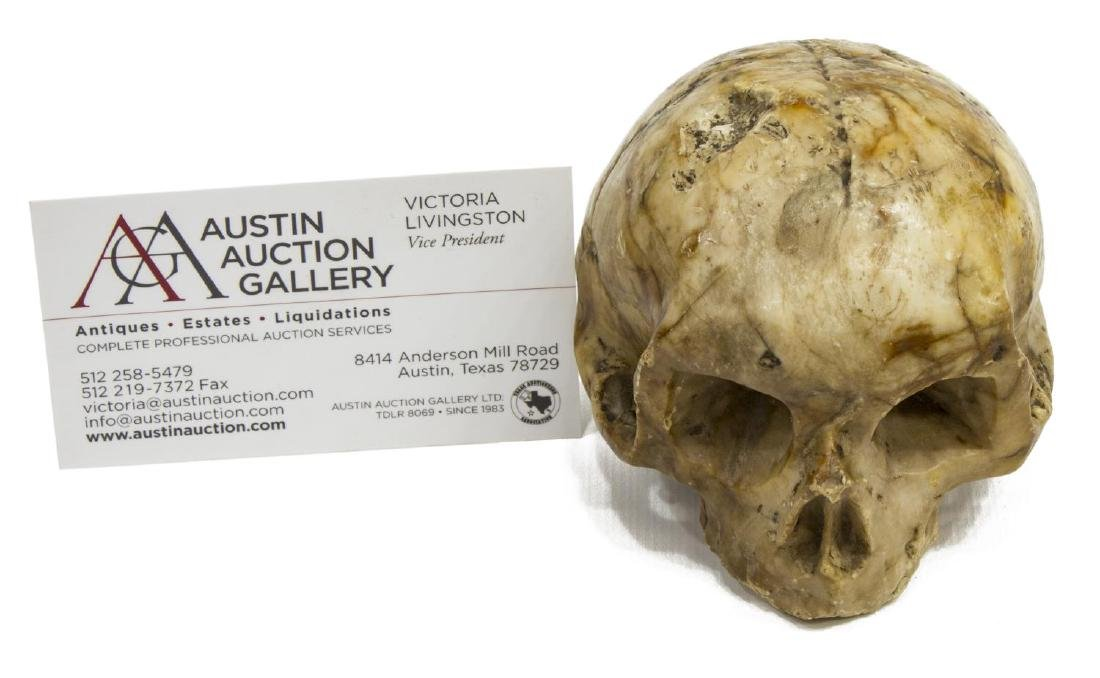 CARVED MARBLE SKULL MEMENTO MORI, 16TH C. - 2
