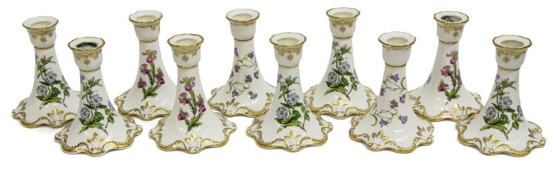 (10) SPODE CHINA CANDLESTICKS, 'STAFFORD FLOWERS'