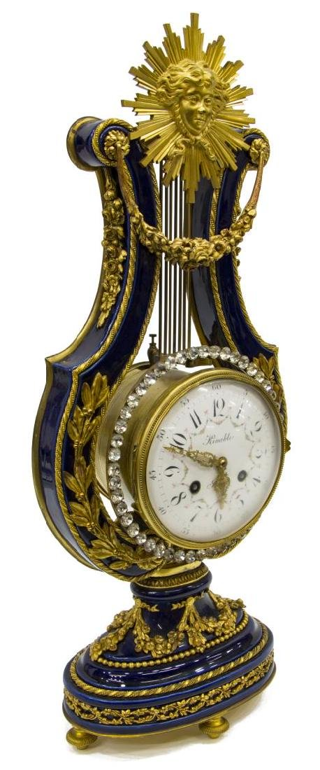 SEVRES-STYLE COBALT PORCELAIN AND GILT LYRE CLOCK - 2