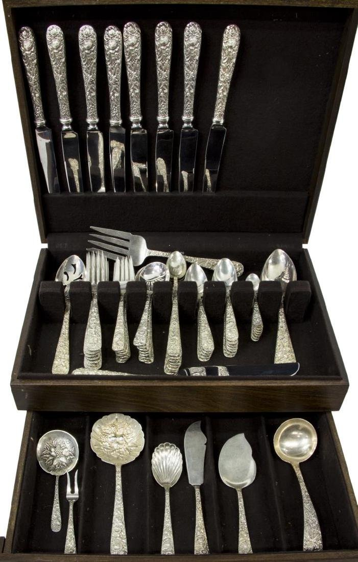 (73) S. KIRK 'REPOUSSE' STERLING SILVER FLATWARE