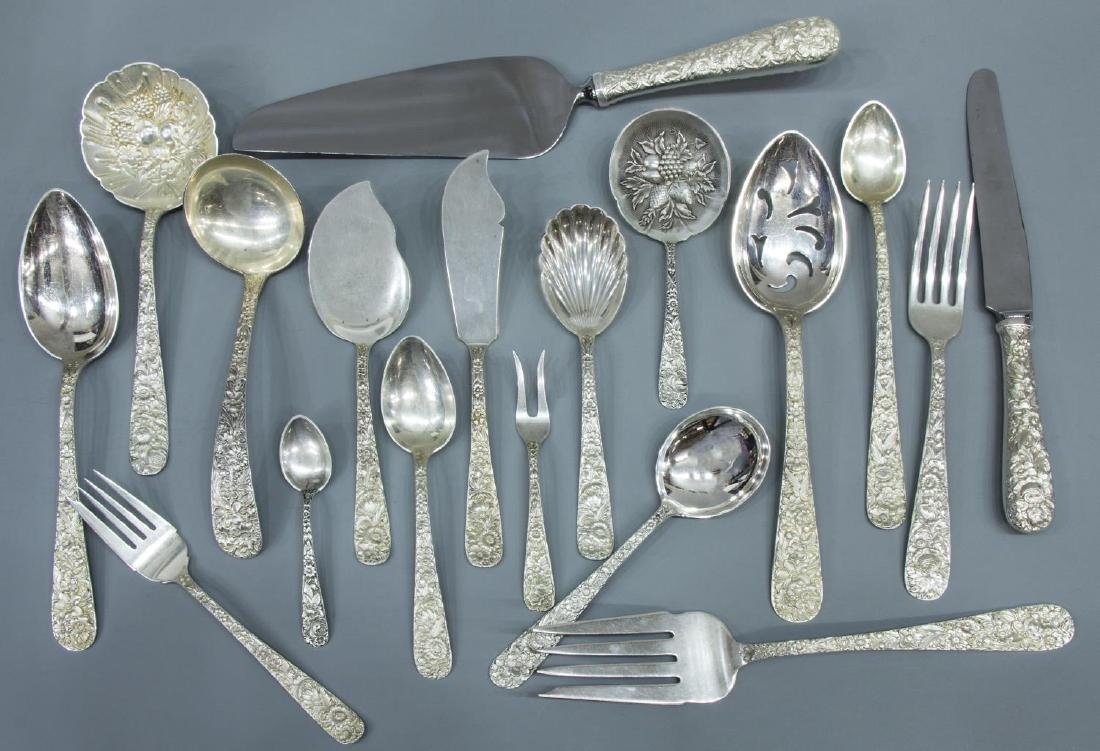(73) S. KIRK 'REPOUSSE' STERLING SILVER FLATWARE - 3