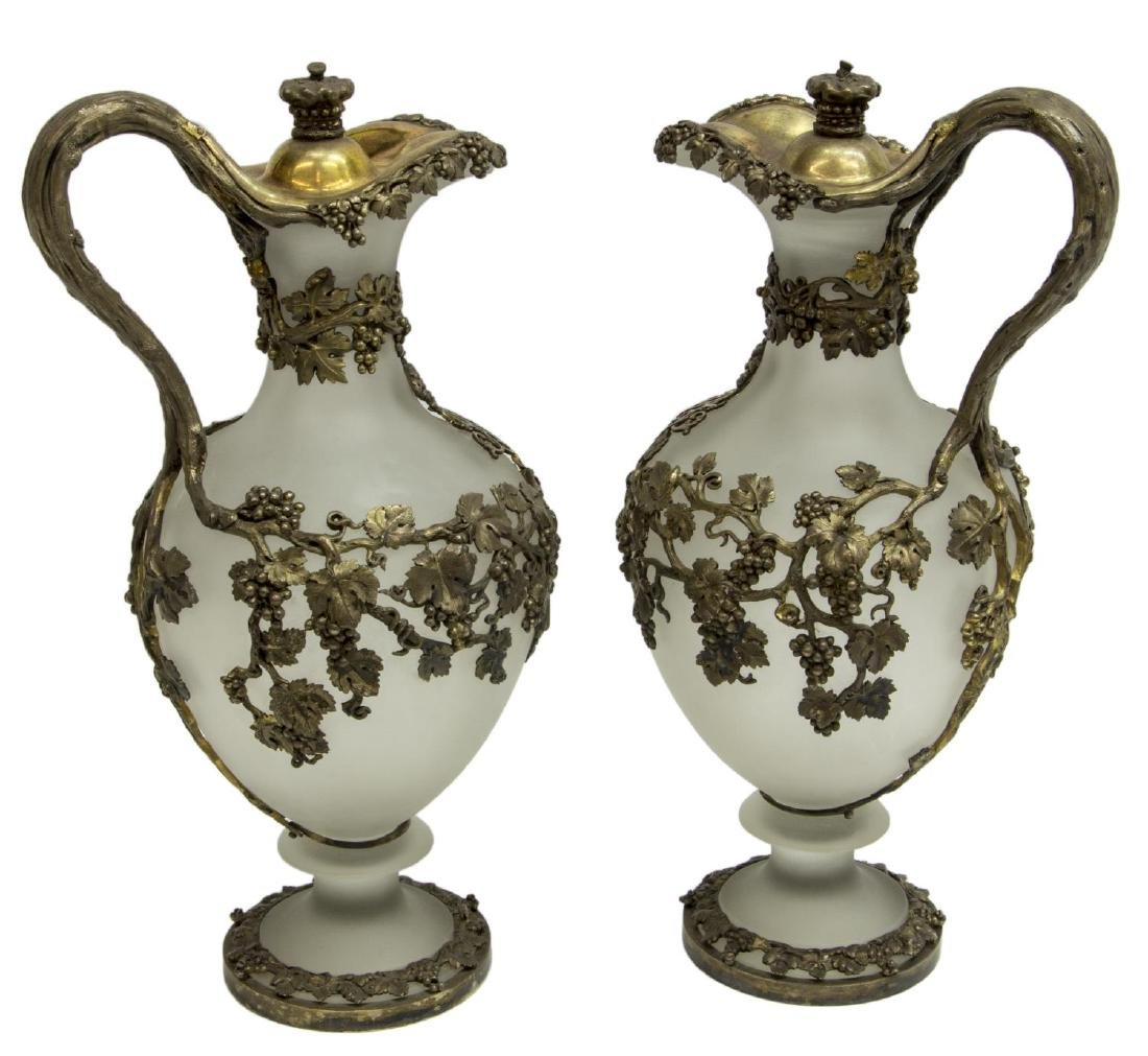 (2) ENGLISH MORTIMER & HUNT SILVER & GLASS EWERS